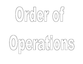 Order of Operations Classroom Sign to Color and Post