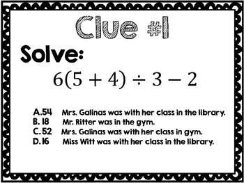 Order of Operations Clue Activity