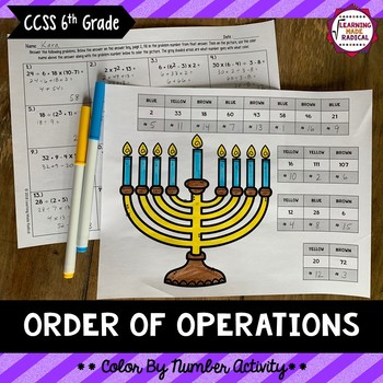 Order of Operations Color By Number Activity