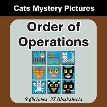 Order of Operations - Color-By-Number Math Mystery Pictures - Cats Theme
