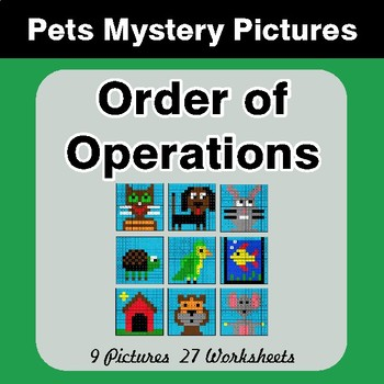 Order of Operations - Color-By-Number Mystery Pictures - Pets Theme