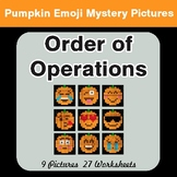Order of Operations - Color-By-Number PUMPKIN EMOJI Math Mystery Pictures