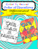 Order of Operations Color by Answer Differentiated