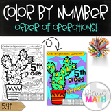 """Order of Operations Color by Number Activity: """"5th Grade is SHARP!"""" (5.4F)"""