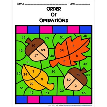 Order of Operations Color by Number-Fall Theme