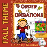 Order of Operations Worksheets: Color by Number-Fall Theme