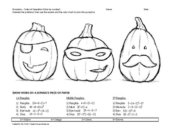Order of Operations Color by Number Pumpkins