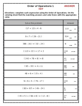 Order of Operations Color by Number Worksheet