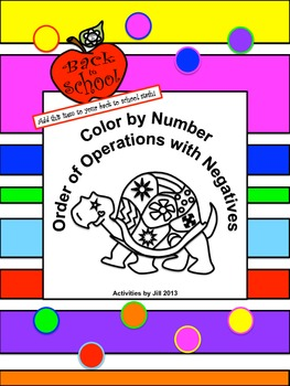 Order of Operations Color by Number with Negatives