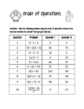 Order of Operations Color the Answer