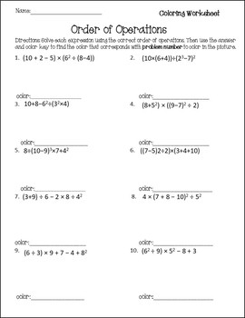 Order of Operations Worksheet {Order of Operations Activity} {PEMDAS worksheet}