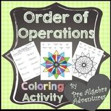 Order of Operations Coloring Sheet  {Order of Operations Worksheet}  {PEMDAS}