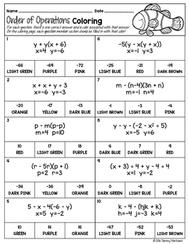 ORDER OF OPERATIONS MATH COLOR BY NUMBER, QUIZ