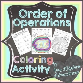 Order of Operations Coloring Sheet {PEMDAS Activity} {Worksheet}