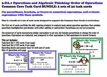 Order of Operations Common Core 5.OA.1 Evaluating Parenthe