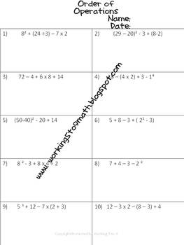 Order of Operations Common Core 5th