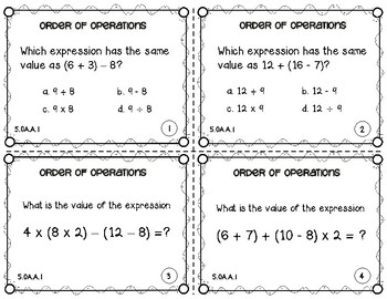 5.OA.1 Order of Operations Task Cards