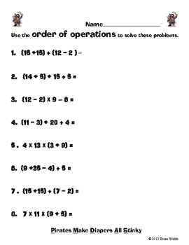 Order of Operations - Common Core Pirate Style Mini-Pack