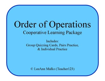 Order of Operations Cooperative Learning Package