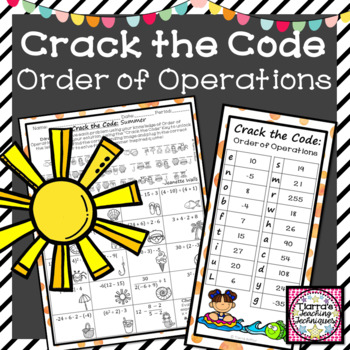 Order of Operations Crack the Code Activity