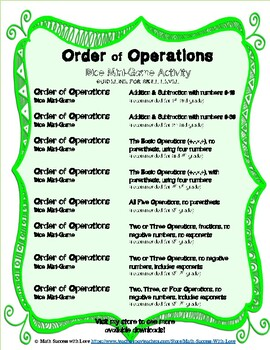 Order of Operations Dice Mini-Game Activity BUNDLE Numbers 0-10 and 0-30