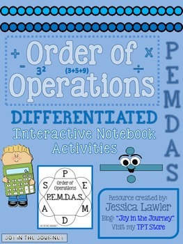 Order of Operations Differentiated Interactive Notebook Activities