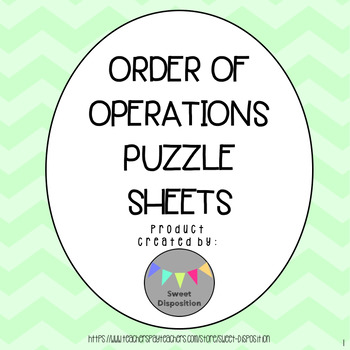Order of Operations Differentiated Puzzle Sheets
