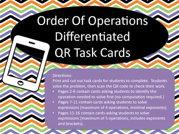 Order of Operations Differentiated QR Task Cards
