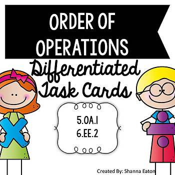 Order of Operations Differentiated Task Cards