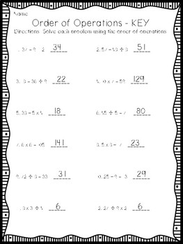 Order of Operations Differentiated Worksheets