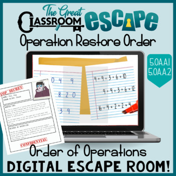 Order of Operations Digital Escape Room Lesson for 5th Grade Math Standards