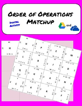Order of Operations Digital Match Up Puzzle