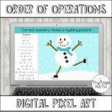 Order of Operations Digital Pixel Art - Winter Snowman