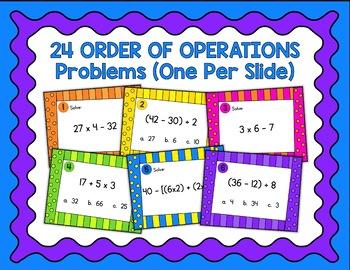 Order of Operations Digital Task Cards Google Version