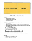 Order of Operations Dominoes