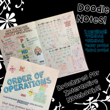 Order of Operations - Doodle Note Brochure for Interactive Notebooks