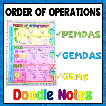 Order of Operations Doodle Notes w/ editable problems