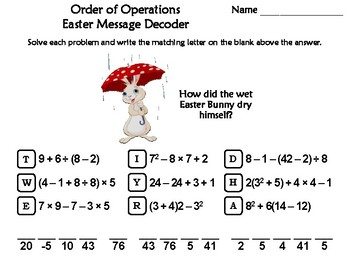 Order of Operations Easter Math Activity: Message Decoder