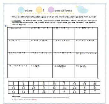 Order of Operations Easter Riddle Activity