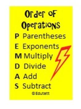 Order of Operations: Edutatt (c) Educational Temporary Tattoo