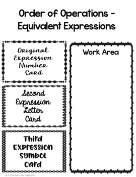 Order of Operations Equivalent Expressions Matching Cards TEKS 6.7A and 6.7C