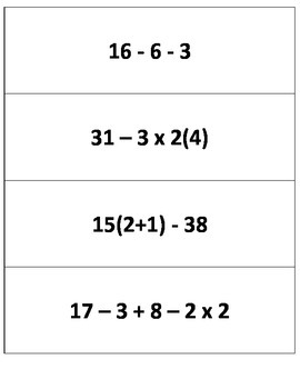 Order of Operations Equivalent Expressions Matching Game  TEK 6.7A