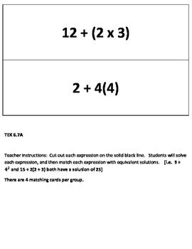 Order of Operations Equivalent Expressions Matching Game