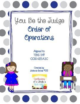 Order of Operations Error Analysis FREEBIE