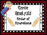Order of Operations Error Analysis {Higher Order Thinking}