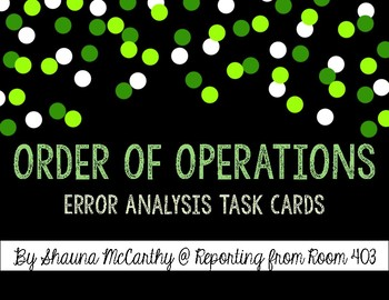 Order of Operations Error Analysis Task Cards