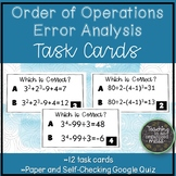 Order of Operations Errors Task Cards