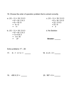 Order of Operations, Estimating, and Integers Test