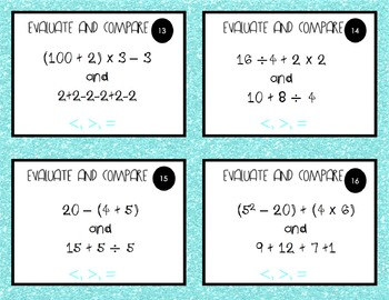 Order of Operations - Evaluating Expressions Task Cards: 5.OA.1