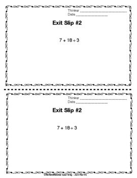 Order of Operations Exit Slips